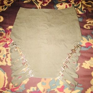 Olive Green Mini Skirt w/Criss-Crossed Straps